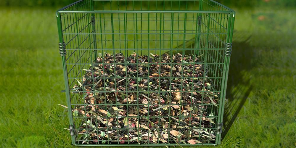 Wire Composter Used To Collect Leaves Grass Clipping